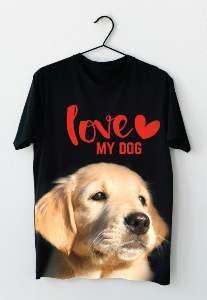 Baby look poliester love my dog P - Club Pet Dantas - 56x38cm