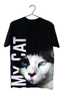 Baby look poliester my cat M - Club Pet Dantas - 58x43cm