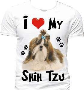 Camiseta poliester I love my shih tzu G - Club Pet Dantas - 70x50cm