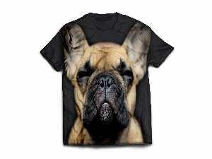Camiseta poliester bulldog frances G - Club Pet Dantas - 70x50cm