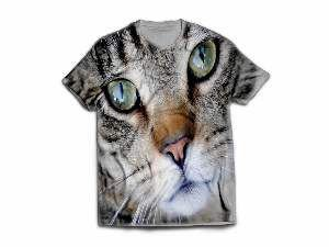 Camiseta poliester cara de gato M - Club Pet Dantas - 64x50cm