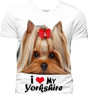 Camiseta poliester I love my yorkshire G - Club Pet Dantas - 70x50cm