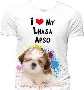 Camiseta poliester I love my lhasa P - Club Pet Dantas - 60x45cm