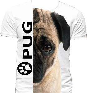 Camiseta poliester pug G - Club Pet Dantas - 70x50cm