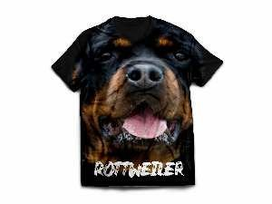 Camiseta poliester rotweiller modelo 1 P - Club Pet Dantas - 60x45cm