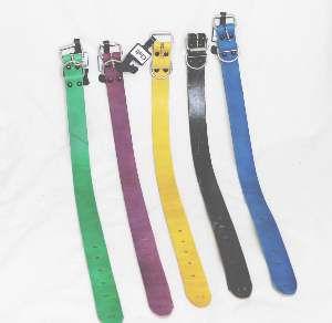 Coleira couro color 06 - Club Pet Master - com 6 unidades - 25mm x 55cm