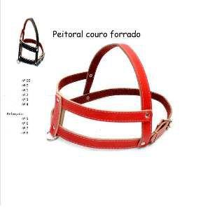 Peitoral de Couro Forrado Nº 4 - Minas Couro - Preto e Vermelho - 1,5x62x40 cm