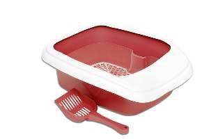 Bandeja higienica plastica furba com borda vermelha - Alvorada - 46x40x17cm