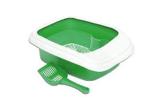 Bandeja higienica plastica furba com borda verde - Alvorada - 46x40x17cm