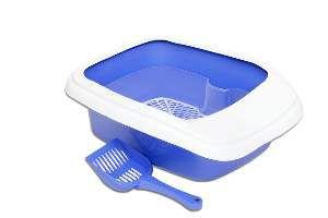 Bandeja higienica plastica furba com borda azul - Alvorada - 46x40x17cm