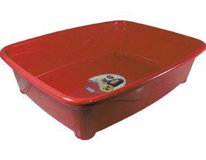 Bandeja higienica plastico classic para gatos - Furacão Pet - Vermelha - 45x36x13cm