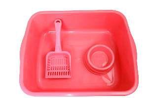 Kit plastico bandeja higienica elite/pa/comedouro vermelho - Four Plastic