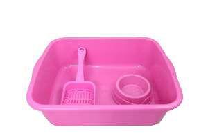 Kit plastico bandeja higienica elite/pa/comedouro rosa - Four Plastic