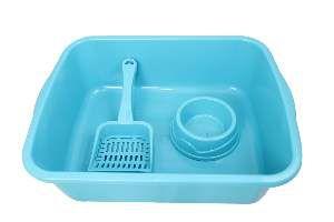 Kit plastico bandeja higienica elite/pa/comedouro azul - Four Plastic