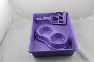 Kit plastico bandeja higienica/pa/comedouro lilas - Four Plastic