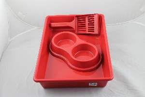 Kit plastico bandeja higienica/pa/comedouro vermelho - Four Plastic