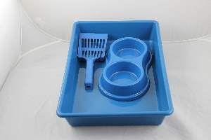 Kit plastico bandeja higienica/pa/comedouro azul - Four Plastic