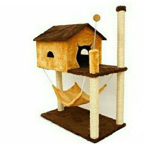 Arranhador casa com rede cores variadas - Arranha Dantas - 75x41x72cm