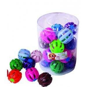Brinquedo plastico bola guizo - Club Pet Import - pote com 20 unidades - 4 cm