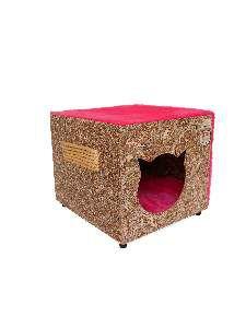 Toca ecologica simples gatos rosa - Club Pet Recriar - 39x35x44cm