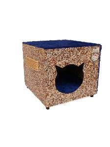 Toca ecologica simples gatos azul - Club Pet Recriar - 39x35x44cm