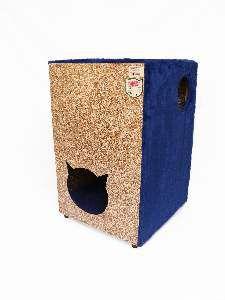Toca ecologica 2 andares gatos azul - Club Pet Recriar - 39x62x44cm