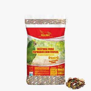 Racao mistura com frutas para papagaios 8kg - Minas Nutri