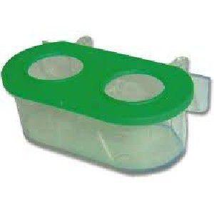 Comedouro plastico 2 furos com gancho com 12 unidades - Plast Pet - 11,5x6,5x4,5cm