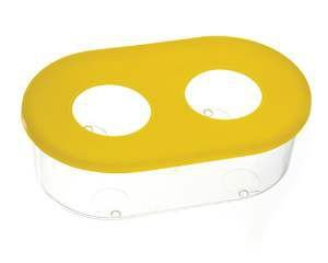 Comedouro plastico 2 furos medio cristal 360ml - Club Pet Alvorada - com 12 unidades - 14,5x8,5x4,5