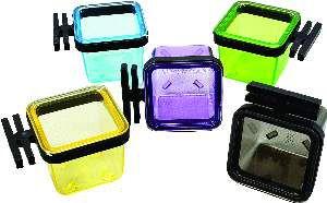 Porta vitamina plastica quadrada colorida pequena 14ml - Humberald - 3x3x3,5cm