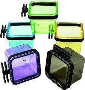 Porta vitamina plastica quadrada colorida media 30ml - Humberald - 3,5x3,5x3,7cm