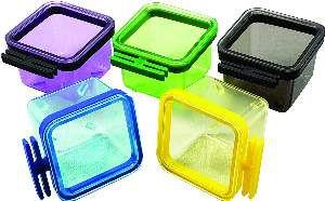 Porta vitamina plastica quadrada colorida 50ml - Humberald - 4,5x4,5x4cm