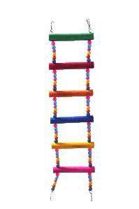 Brinquedo madeira escada 3x1 micanga 6P M - Club Still Pet - 12 x 1,2 x 43cm