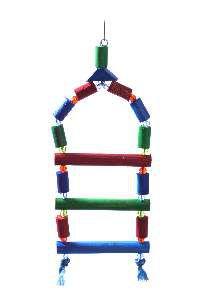 Brinquedo madeira escada com micanga grande - Club Still Pet - 38x15cm