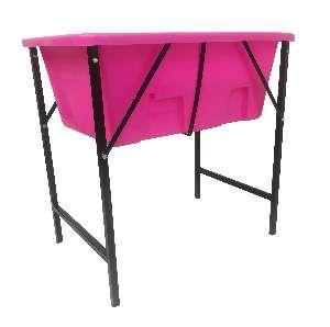 Banheira plastica com suporte pequena rosa - Click New - 67x56x36cm - ext.97cm/int.86cm