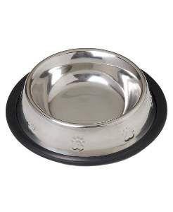 Comedouro inox natural relevo medio 720ml - American Pet's - 20x7cm