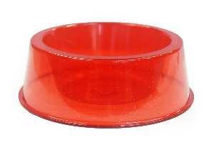 Comedouro plastico filhote com glitter vermelho 300ml - Pet Toys - 8x6cm