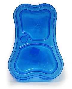 Comedouro plastico duplo exclusiva azul 460/300ml - Pet Toys - 31x6cm