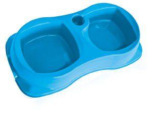 Comedouro plastico duplo zooplast azul pequeno - Plast Pet - 25,7x14x4,9cm