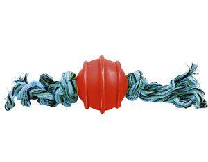Brinquedo borracha macica bola com corda de 2 nos 50mm - Furacao Pet - 5x5x5cm