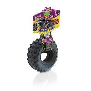 Brinquedo borracha macica pneu preto pequeno - American Pet's - 10,5x10,5x4cm