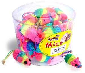 Brinquedo corda rato cat toy arco-iris - American Pet's - com 36 unidades - 10cm