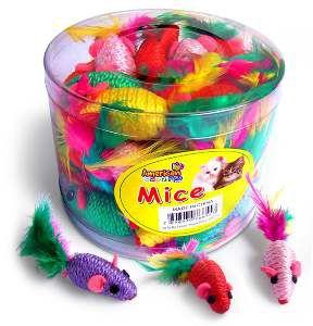 Brinquedo corda rato cat toy com penas - American Pet's - com 36 unidades - 10cm