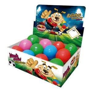 Brinquedo macico bola colorida - Furacao Pet - display 12 unidades - 55mm