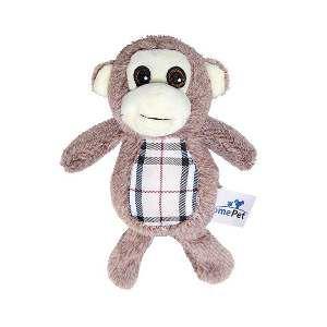 Brinquedo de Pelúcia Macaco Xadrez - Home Pet - 13x8x18cm