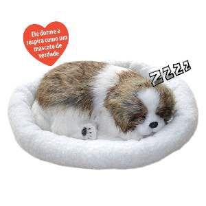 Brinquedo Realista que Respira Cão Shih Tzu - Chalesco - 35cm