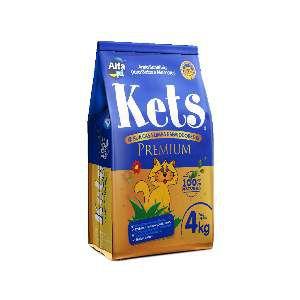 Areia sanitaria kets premium 4kg - Alfa Pet - com 5 unidades - 18x32x42cm