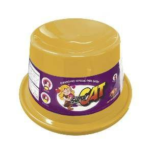 Comedouro plastico super cat amarelo 200ml - Furacao Pet - 21x21x10cm