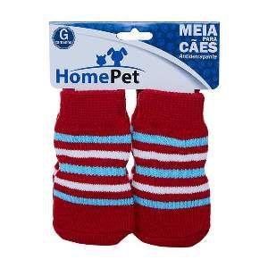 Meia poliester/algodao vermelha c/listra azul e branca G - Home Pet - 9x0,9x9cm