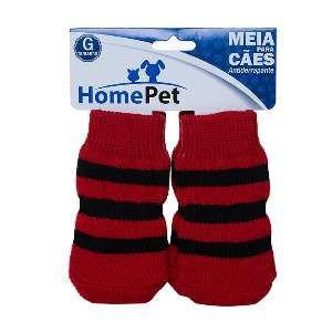 Meia poliester/algodao vermelha c/listras pretas G - Home Pet - 9x0,9x9cm
